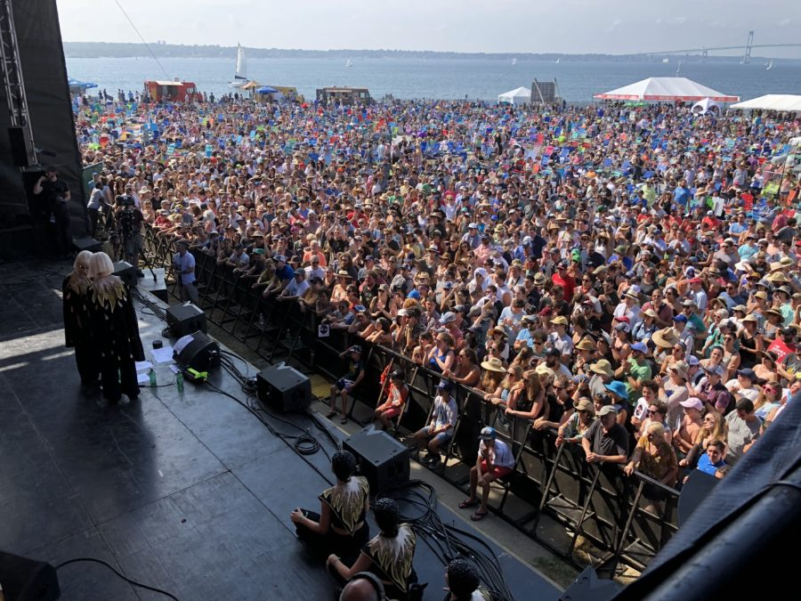 Lucius on stage at Newport in front of a packed crowd