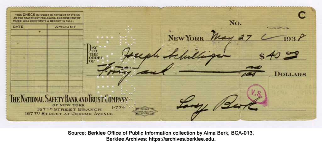 Check from Larry Berk to Joseph Schillinger