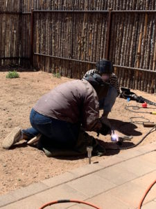 Gracenotes staff welding for Habitat for Humanity