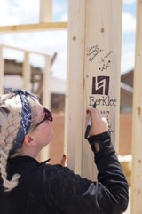 Claire Mumford working with Habitat for Humanity