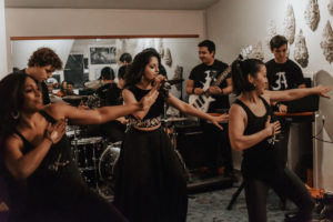 Avanti Nagral performs with her band in a studio