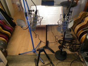Vocal mics in a recording studio
