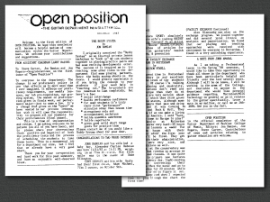 A picture of the first Open Position newsletter